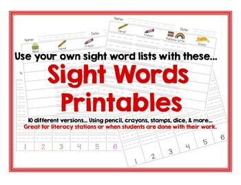 FREE Sight Word Printable Center