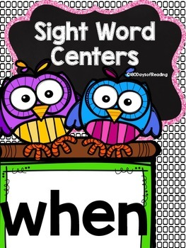 Sight Word Printable Center Activities {when}