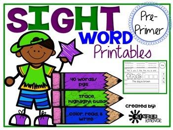 Sight Word Printables {Pre-Primer List}