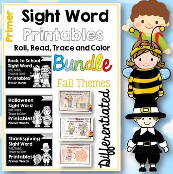 Sight Word Printables: Roll, Read, Trace & Color BUNDLE Pr