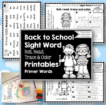 Sight Word Printables: Roll, Read, Trace & Color Back to S
