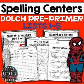 Sight Word Printables - Superhero Spelling - Dolch Pre-Primer
