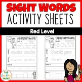 High Frequency Sight Word Printables for Year One NZ (Red Level)
