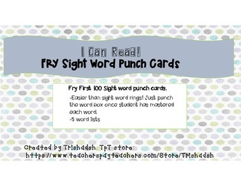 Sight Word Punch Cards First 100