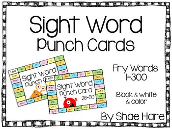 Sight Word Punch Cards - Fry Words 1-300 Practice Motivation