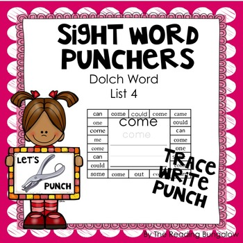 Sight Word Punchers - Dolch Word List 4