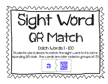 Sight Word QR Code Match 1-100