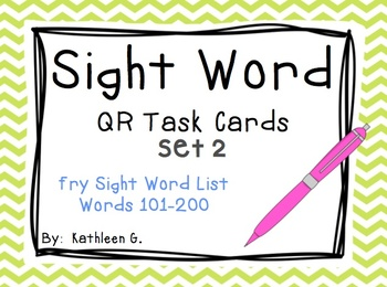 Sight Word QR Code Task Cards *Set 2*