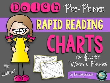 Sight Word Rapid Reading Charts for Fluency: Pre-Primer Wo