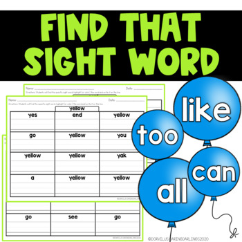 Sight Word Recognition