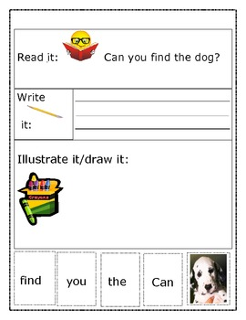 "Sight Word Recognition Sentence Builders BUNDLE ""Can you f"