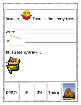 """Sight Word Recognition Sentence Builders BUNDLE """"There is the..."""""""
