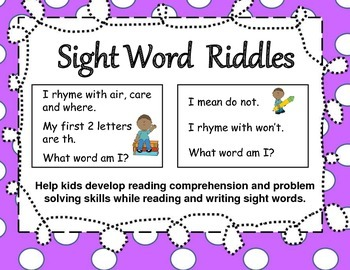 Sight Word Riddles for Partner Work, Individual Work and S