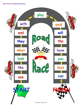 Sight Word Road Race Game (Words for Beginning Readers)