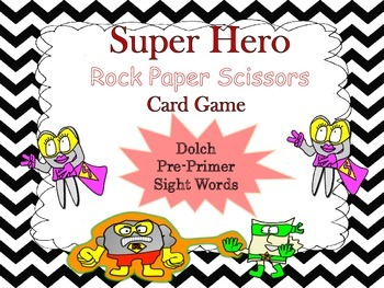 Sight Word Rock Paper Scissors Card Game!  (Dolch Pre-Primer)