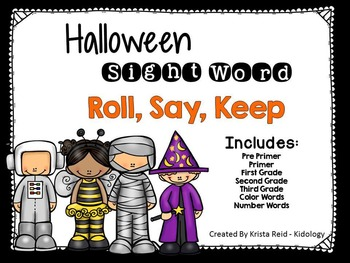 Sight Word - Roll Say Keep Game - Halloween Theme
