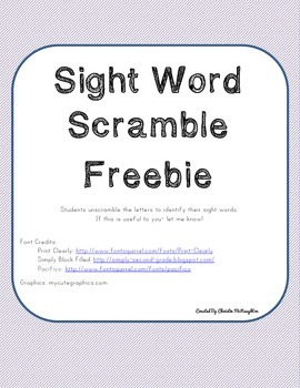 Sight Word Scramble Freebie!