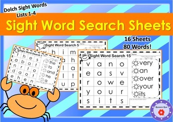 Sight Word Search - 16 sheets featuring Dolch Sight Words