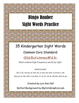 Sight Word Search - Bingo Dauber