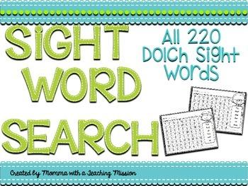 Sight Word Search Puzzles No Prep Printables