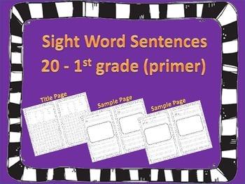 Sight Word Sentence Writing 1st Grade 20 Words