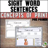 Concepts of Print - Sight Word Sentences (Pre-Primer List)