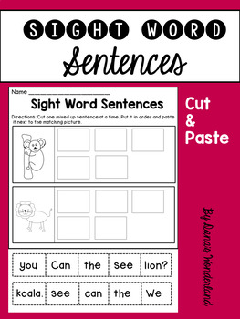 Sight Word Sentences Cut and Paste to Match the Pictures (set 2)