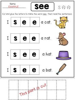 FREE Kindergarten Sight Word Practice Sheets for Reading Fluency