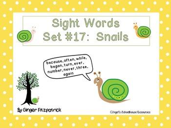 Sight Word Set #17 Snails