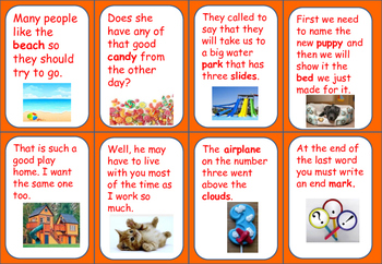 Sight Word (Set 5) Matching Game  -sentence format