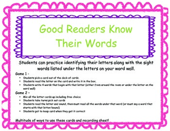 Sight Word Sheet and Letter Cards