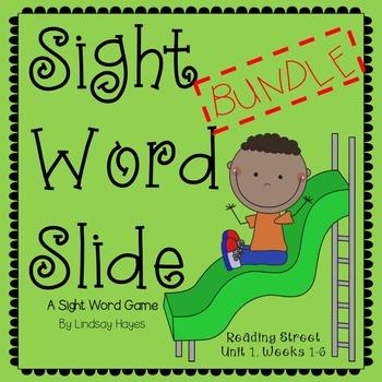 Sight Word Slide BUNDLE: Reading Street Unit 1, Weeks 1-6
