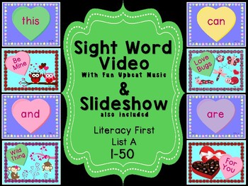 Sight Word Slide Show, Literacy First List A Words 1-50, V