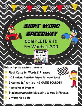 """""""Sight Word Speedway"""" System MEGA BUNDLE for FRY's First 3"""