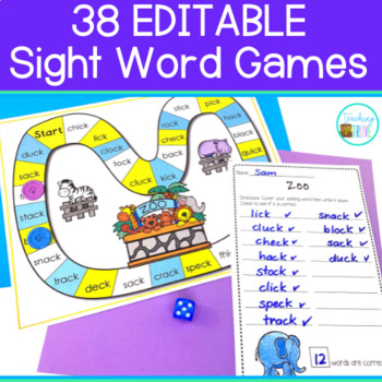Sight Word Games- Spelling Word Games - 38 EDITABLE GAMES