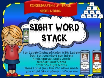Sight Word Stack Games (Included:Two Sizes, Color and Blac
