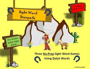 Sight Word Stampede Games- Pre-Primer - Level 1, 2 & 3 Bundle
