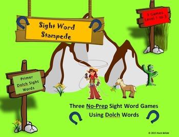 Sight Word Stampede Games - Primer - Level 1, 2 & 3 Bundle