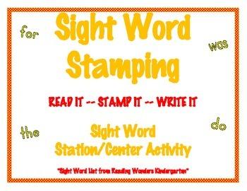 Sight Word Stamping - Reading Wonders K Word List