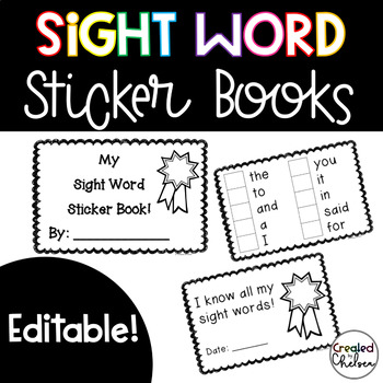 Sight Word Sticker Books {EDITABLE!}