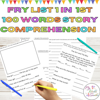 Sight Word Story Comprehension Fry List 1 from 1st 100 Words