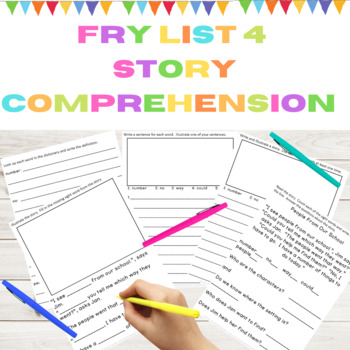 Sight Word Story Comprehension Fry List 4 from 1st 100 Words