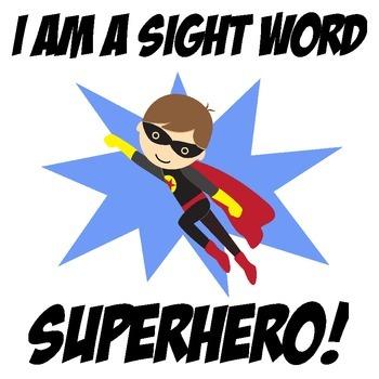 Sight Word Superhero Iron-On Transfer