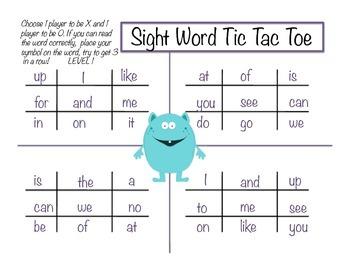 Sight Word Tic Tac Toe Literacy Center- Fry and Dolch K-2