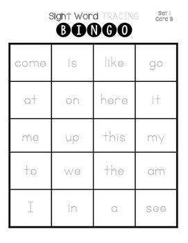 Sight Word Tracing Bingo
