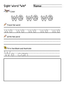 """Sight Word """"We"""" Practice Worksheet"""