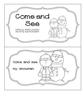 Kindergarten Winter Emergent Reader with Sight Words
