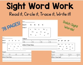 Sight Word Work 78 PAGES - Read it, Trace it, Circle it, W