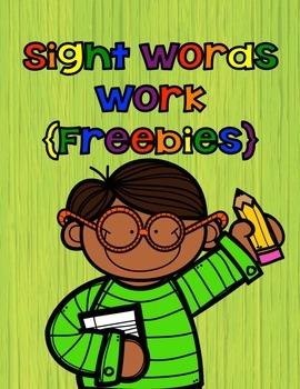 Sight Word Work {Freebie}