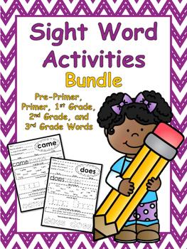 Sight Word Worksheets Bundle